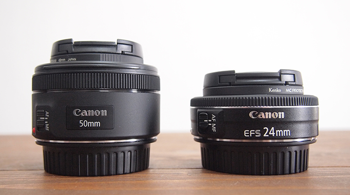 50mmとのサイズ比較 - EF-S24mmF2.8STM